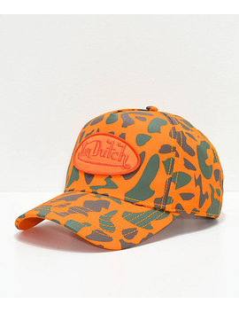Von Dutch Orange Camo Snapback Hat by Von Dutch Originals