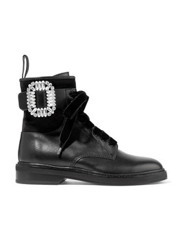 Viv Rangers Crystal Embellished Paneled Leather And Suede Ankle Boots by Roger Vivier