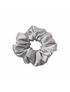 Lily Silk Pure Silk Charmeuse Scrunchy  Regular  Scrunchies For Hair   Silk Scrunchies For Women Soft Hair Care Silver Grey by Lily Silk