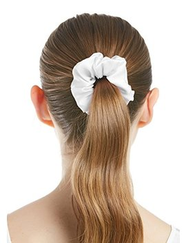 Lily Silk Pure Silk Charmeuse Scrunchy  Regular  Scrunchies For Hair   Silk Scrunchies For Women Soft Hair Care White by Lily Silk