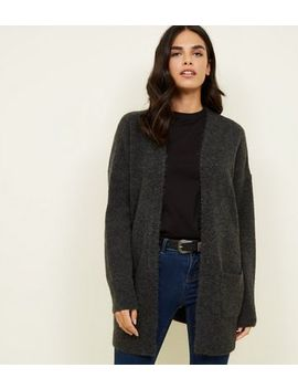 Dark Grey Pocket Front Knitted Front Cardigan by New Look