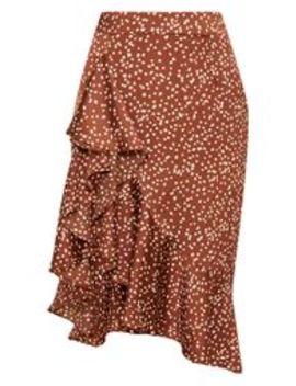 Chocolate Satin Polka Dot Print Waterfall Front Midi Skirt by Prettylittlething