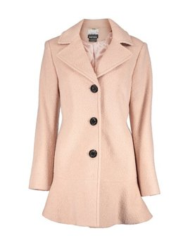 Blush Button Up Peplum Wool Blend Coat   Women by Zulily