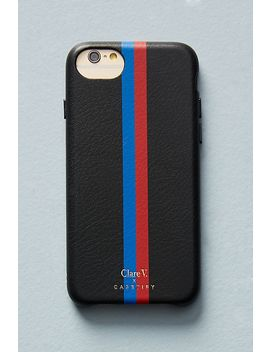 Clare V. X Casetify Striped Leather I Phone Case by Casetify