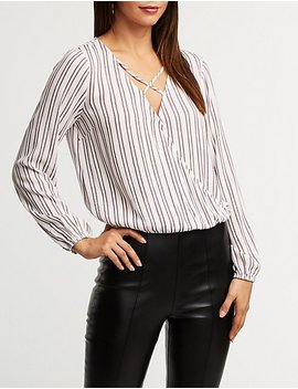 Striped Caged Top by Charlotte Russe