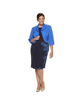 Plus Size Maya Brooke Side Paisley Print Jacket Dress by Kohl's