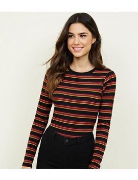 Black Multi Stripe Ribed Long Sleeve Top by New Look