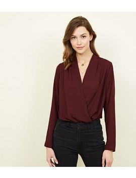 Burgundy Long Sleeve Wrap Bodysuit by New Look