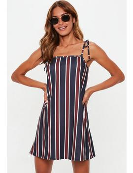 Striped Tie Strap Slip Shift Dress by Missguided