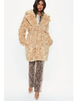 Cream Premium Faux Fur Tie Waist Wrap Coat by Missguided