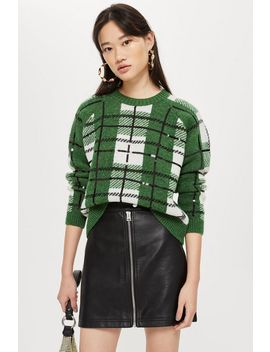 Sequin Check Jumper by Topshop