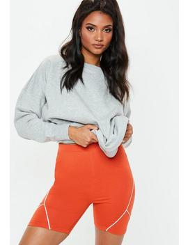Red Reflective Side Cycling Shorts by Missguided