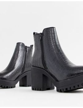 Missguided Croc Chelsea Chunky Ankle Boot In Black by Missguided