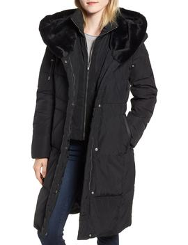Down & Feather Coat With Faux Fur Hood by Cole Haan