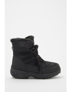 Faux Fur Lined Lace Up Boot by Urban Planet