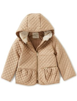Little Girls 2 T 6 X Faux Fur Hooded Quilted Shirred Coat by Copper Key
