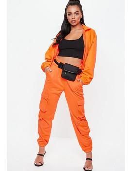 Orange Cargo Utility Pocket Joggers by Missguided