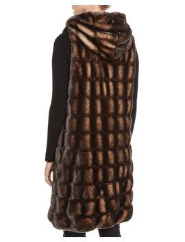 Couture Faux Fur Hooded Long Vest by Fabulous Furs