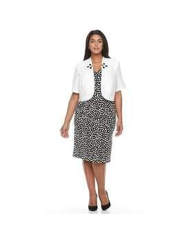 Plus Size Maya Brooke Polka Dot Sheath Dress & Embellished Jacket Set by Kohl's