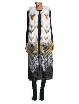 Full Length Chevron Faux Fur Vest by Fabulous Furs