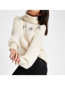 Cream Sequin Star Roll Neck Sweater by River Island