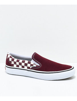 Vans Slip On Pro Port Royal Red & White Checkered Skate Shoes by Vans