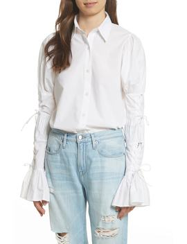 Lace Up Sleeve Cotton Shirt by Frame