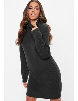 Grey Roll Neck Sweater Dress by Missguided