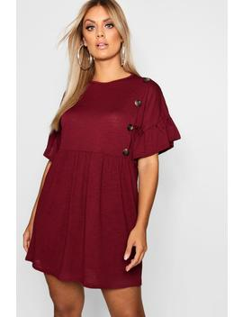 Plus Horn Button Frill Skater Dress by Boohoo