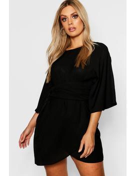 Plus Kimono Sleeve Wrap Dress by Boohoo