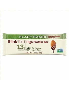 Think Thin High Protein Plant Based Bars, Sea Salt Almond Chocolate, 1.94 Oz Bar (10 Count) by Think Thin