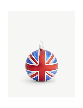 Union Jack Glittered Glass Bauble 8cm by Christmas