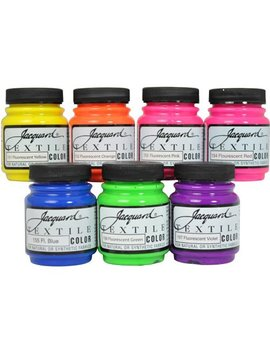 Jacquard Textile Color 7 Assorted Fluorescent Pigments Fabric Dye Airbrush Paint by Jacquard