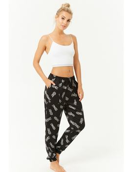 Pineapple Print Satin Pyjama Bottoms by Forever 21