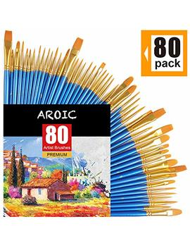 Paint Brush Set, Nylon Hair Brushes For Acrylic Oil Watercolor Painting Artist Professional Painting Kits (80 Pack) by Aroic