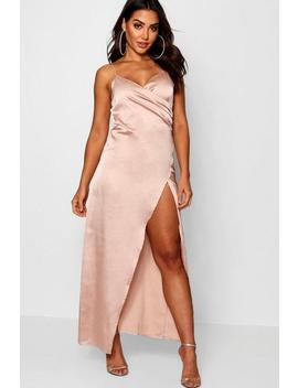 Satin Wrap Detail Maxi Dress by Boohoo