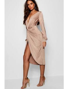 Tall Olivia Wrap Front Slinky Midi Dress by Boohoo