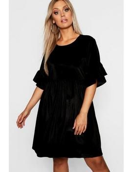 Plus Velvet Ruffle Sleeve Smock Dress by Boohoo