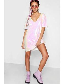 Plunge Front All Over Sequin Shift Dress by Boohoo