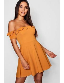 Off The Shoulder Frill Skater Dress by Boohoo