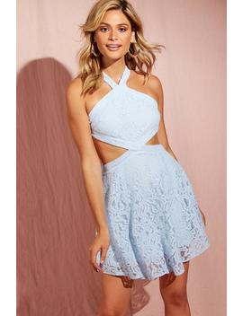 Corded Lace Open Back Detail Skater Dress by Boohoo