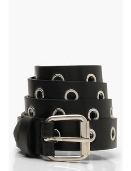 All Over Eyelet Boyfriend Belt by Boohoo