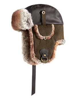 Men's Faux Leather & Canvas Trooper Hat, Created For Macy's by Woolrich