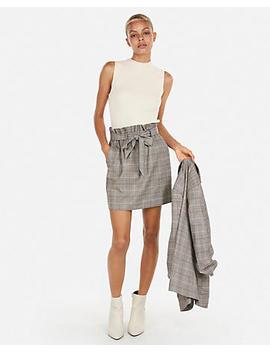 High Waisted Plaid Sash Waist Skirt by Express