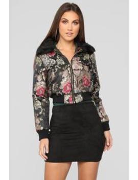 No Secrets Fur Collar Bomber   Black by Fashion Nova