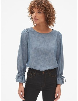 Tie Sleeve Blouse In Chambray by Gap