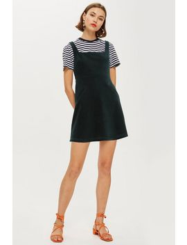 Tall Corduroy Open Back Pinafore Dress by Topshop