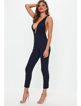 Navy Plunge Straight Leg Jumpsuit by Missguided