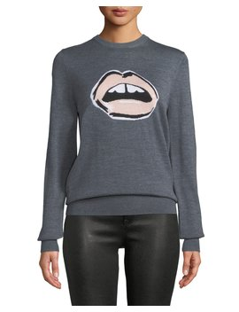 Mia Painted Lip Intarsia Wool Pullover Sweater by Markus Lupfer