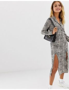 Wednesday's Girl Midaxi Shirt Dress With Front Splits In Snake Print by Wednesday's Girl